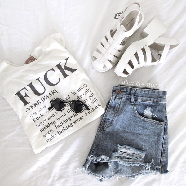 bag tote bag quote on it shoes denim shorts