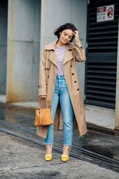 coat,trench coat,top,jeans,shoes,bag