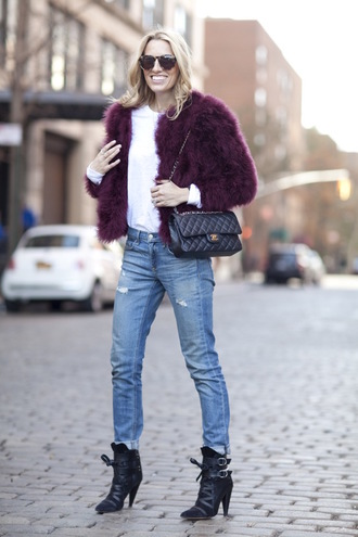 mind body swag blogger jacket fluffy purple black boots ripped jeans