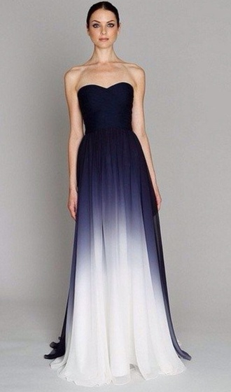 ombre long prom dress pll ice ball dress