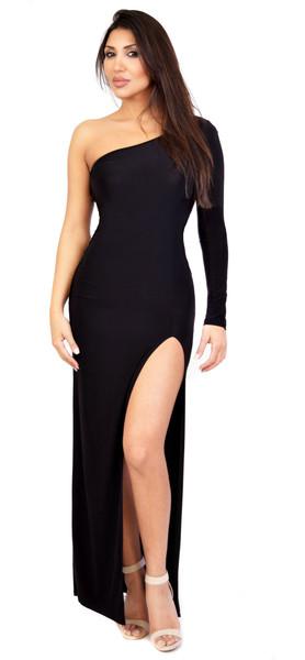 Andrea one shoulder slit maxi dress