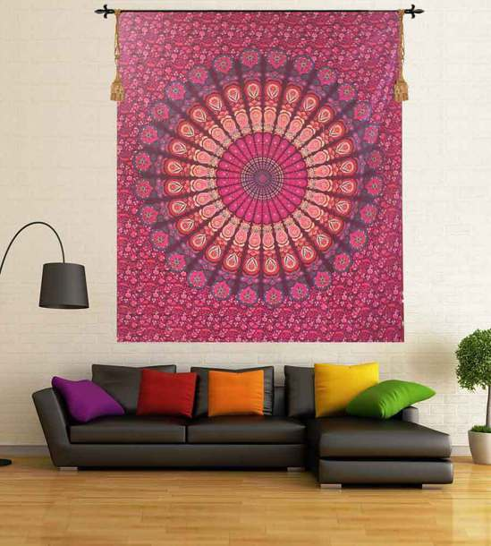 Pink Wall Tapestry home accessory: wall tapestry pink indian mandala wall tapestry