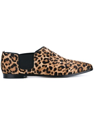 hair loafers leather print leopard print brown shoes