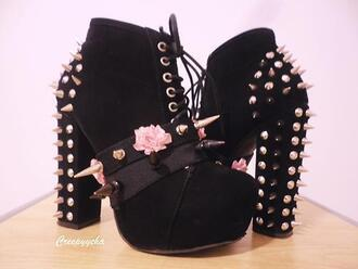 shoes black pastel goth dark spikes studs spikes and studs boots goth spike roses tumblr grunge cute heels