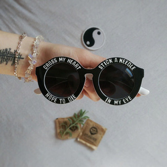 sunglasses circled sunglasses black sunglasses black quote on it cute grunge grunge sunglasses desire