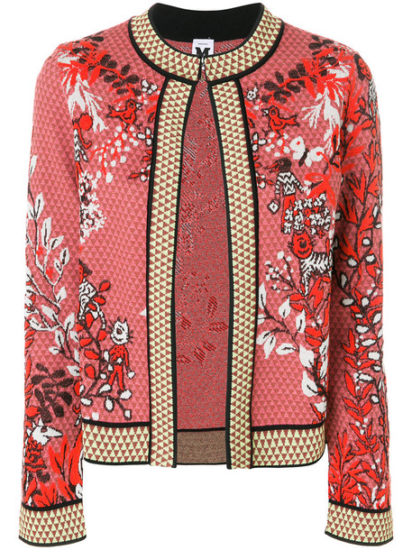 M Missoni jacket embroidered jacket embroidered women floral cotton wool purple pink