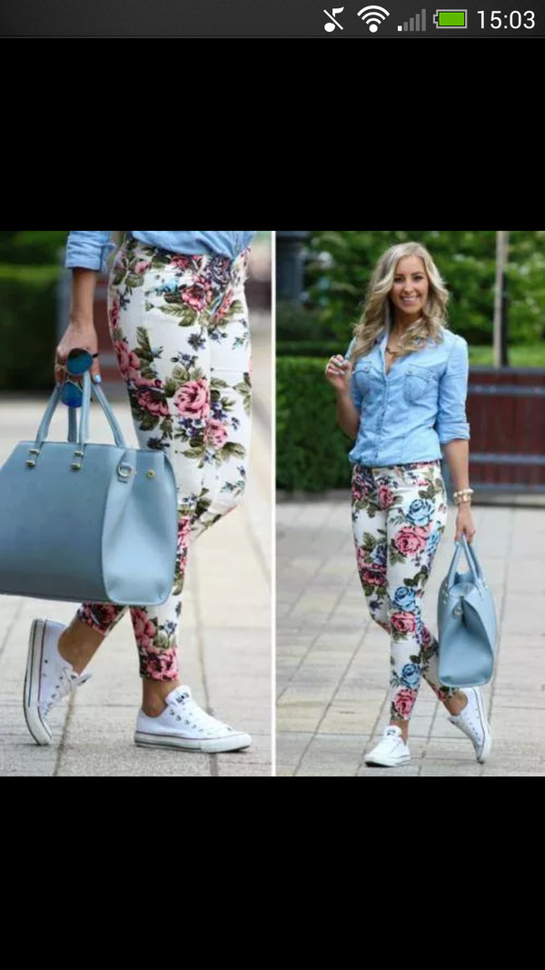 jeans flowers bag blouse pants