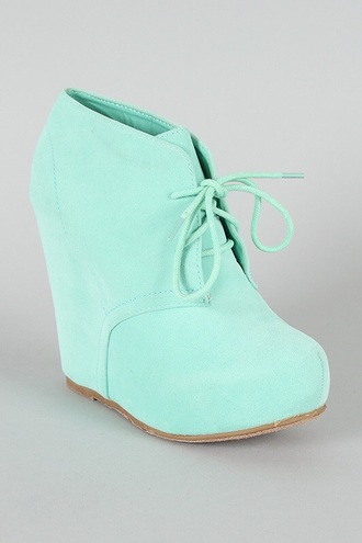 shoes platform shoes mint wedges