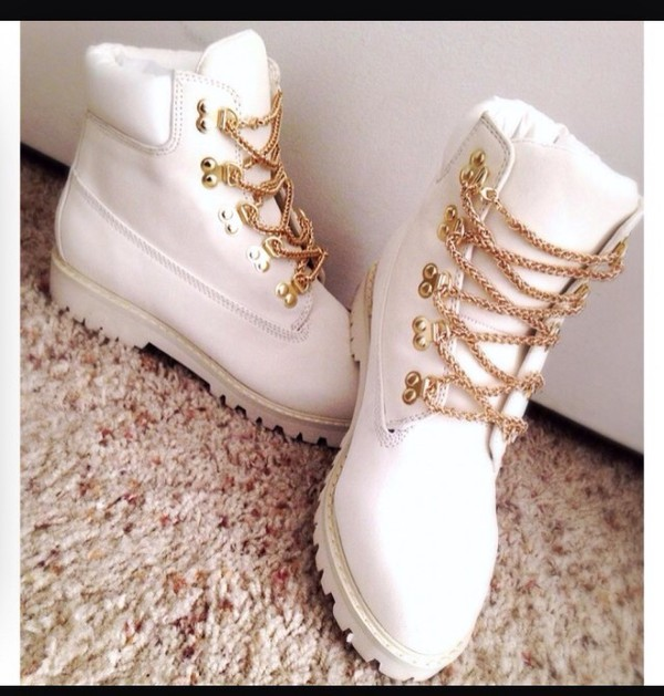 White Timberlands With Gold Chain Laces
