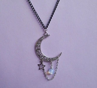 jewels moon hipster grunge pastel moon and stars neacklace stars chain holographic grunge jewelry