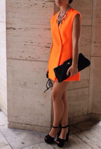 orange clutch high heels