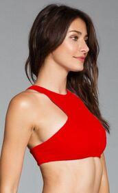 top,ayra swimwear,bikini top,exclusive,halter top,red,sporty,bikiniluxe