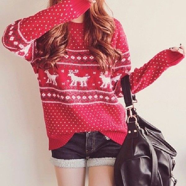sweater red christmas sweater winter outfits