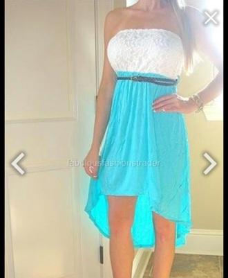 dress turquoise dress cowgirl boots white dress high low dress belt