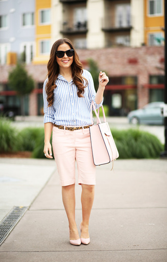 dress corilynn blogger striped shirt pink bag