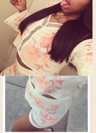 blouse two-piece floral cut out top romper cut-out off-white 2 piece short set chiffon pattern shorts cream pink peach
