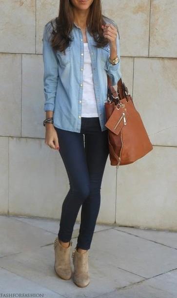 shoes, chemise, jeans, sac, bottine