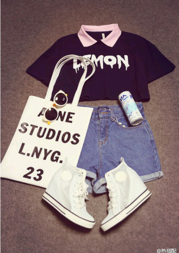 shoes top kawaii bag sunglasses acne studios denim shorts High waisted shorts denim pinl blouse