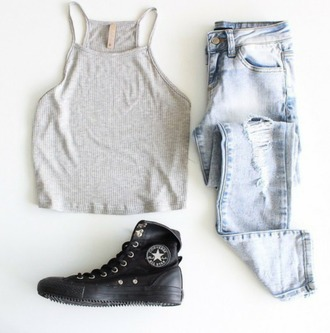 cool urban ripped jeans shoes black sneakers black shoes grey top top