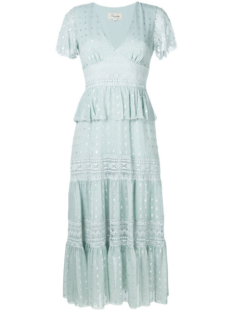 Temperley London dress lace dress metallic women lace cotton silk green
