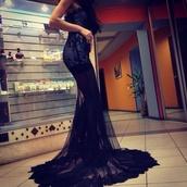 dress,black,lace,sequins,maxi dress,prom dress,glitter,diamonds