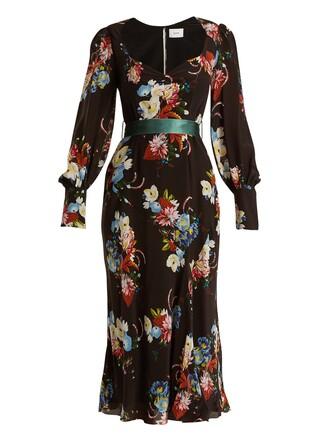 dress midi dress midi silk print black