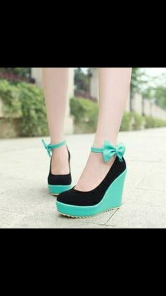 shoes wedges mint shoes black heels bow wedges mint wedges