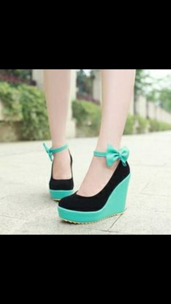 shoes wedges mint shoes black heels bow wedges mint wedges black and mint green