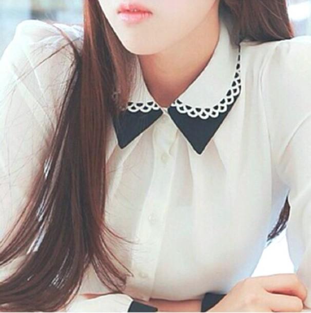 blouse cute blouse korean fashion white