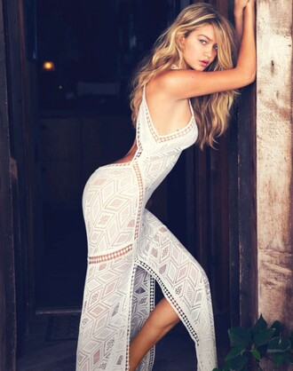 maxi dress lace dress gigi hadid white dress summer outfits backless dress summer dress beach dress white cut-out dress sexy dress white lace dress see through dress indie model dress
