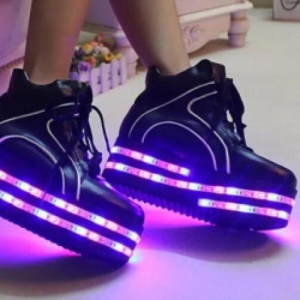 d5b8663722ee shoes black black shoes purple platform shoes light up shoes socks sneakers  lights neon led shoes