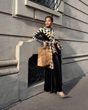 dress,turtleneck dress,long dress,long sleeve dress,balenciaga,pumps,jacket,checkered,earrings