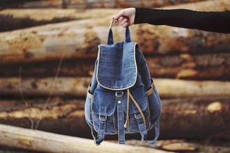 bag backpack denim backpack indie denim