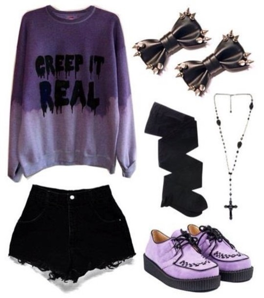 ripped retro High waisted shorts sweater goth purple sweater hair accessory bows bow spikes spiked black hair accessories creep it real ombre sweater melting pastel hat shorts shirt creep tumblr creepers creepy cute creepy melting dripping pastel goth grunge soft grunge emo punk harajuku kawaii shoes jewels outfit forever 21 purple cross top grunge sweater pastel