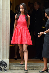 dress,red dress,summer dress,Obama family,mini dress,lace dress