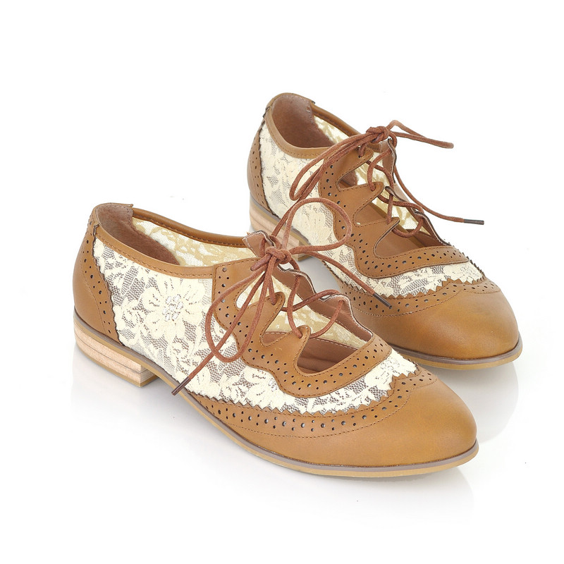 Womens Girls Platform Lace Low Heels Lace Up Creeper Flats Retro Oxfords Shoes | EBay
