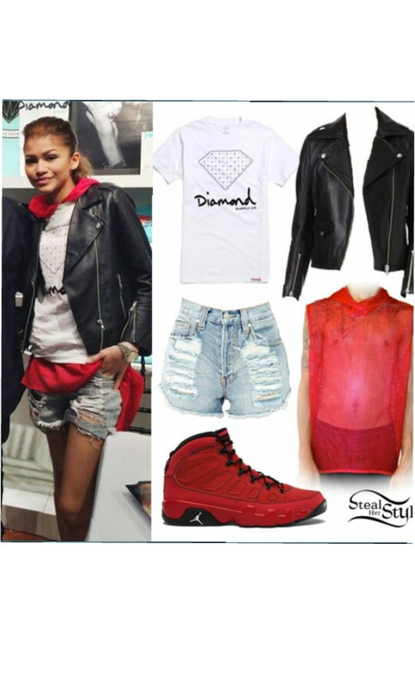 t-shirt shorts jacket shoes
