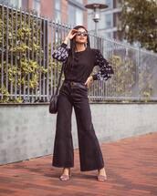 jeans,wide-leg pants,black jeans,mid heel sandals,black blouse,shoulder bag,sunglasses