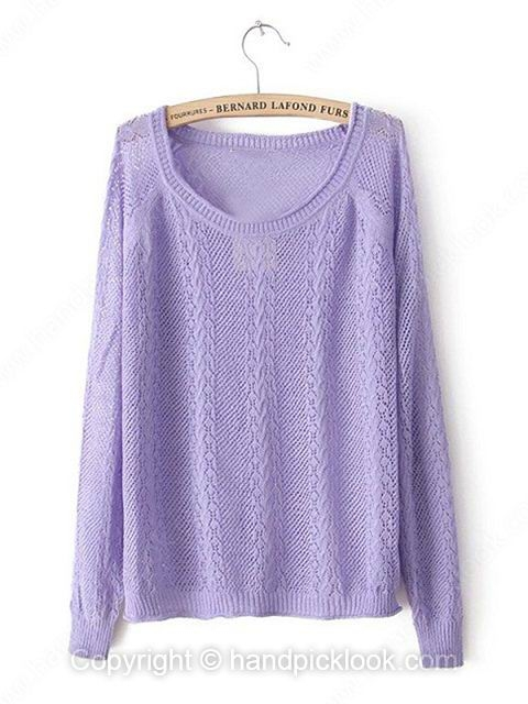 Light Purple Tank Long Sleeve Hollow Sweater - HandpickLook.com