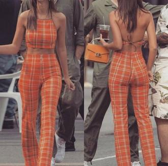 jumpsuit girly orange plaid two-piece crop tops cropped crop pants