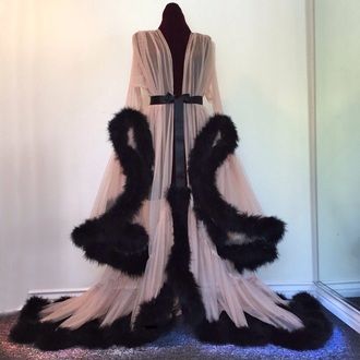 dress hollywood scarlett feathers ostrich chiffon dressing gown elegant fluffy gown homewear robe faux fur nightwear coat lingerie pajamas burgundy long beige pink black princess kim kardashian cute cardigan sexy pink lingerie underwear fur silk flow flowey gorgeous twitter tumblr instagram sweater fancy fancy robe black feathers floor length sheer sheer lingerie sexy sheer robe satin