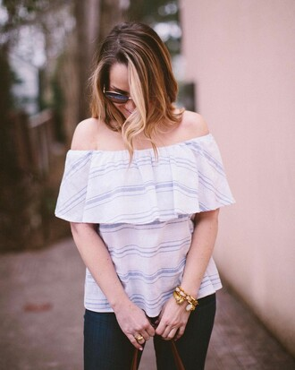 top tumblr striped top sunglasses off the shoulder off the shoulder top stripes bracelets gold bracelet jewelry gold jewelry denim jeans blue jeans