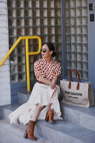 belt hallie daily blogger top shoes bag skirt sunglasses polka dots white skirt ankle boots