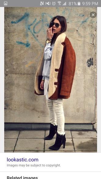 coat tan wool suede shearling shearling jacket