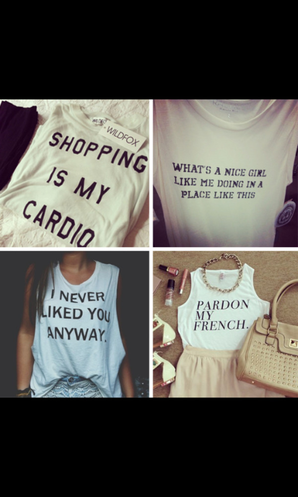 shopping is my cardio tank i never liked you anyways pardon my french tank top whats a nu