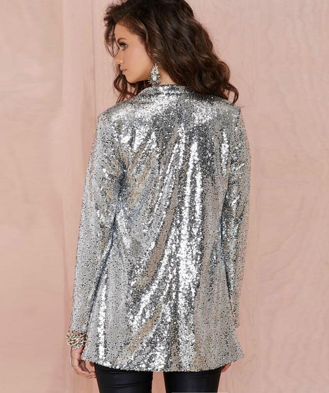 2015 big brand punk fashion Shiny silver sequins womens blazer OL ...