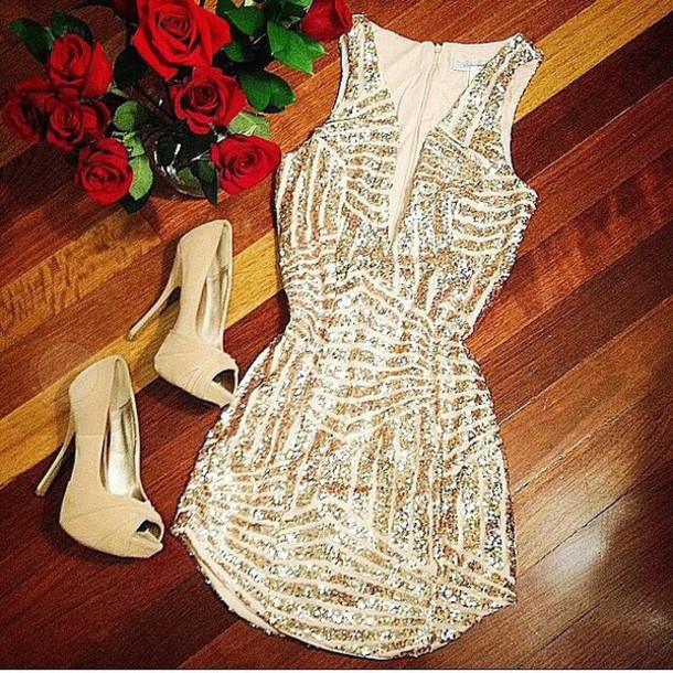clothes dress high heels thight dress bodycon dress gold dress glitter dress short dress shoes