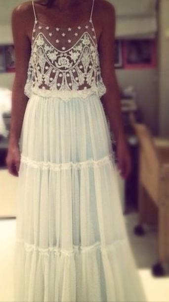 Dress White Lace Dress Ethereal Bohemian Boho Dress