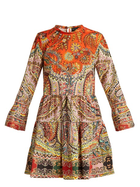 ETRO dress cotton print paisley orange