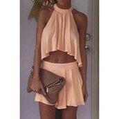 dress,two piece dress set,peach,fashion,style,trendy,summer,tan,girly,hot,halter top,rose wholesale-jan